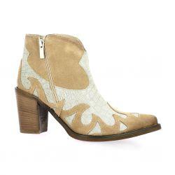 Crasto Boots cuir velours beige
