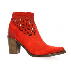 Crasto Boots cuir velours rouge
