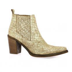 Crasto Boots cuir laminé doré