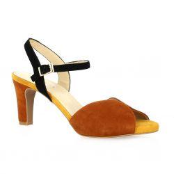 Brenda zaro Nu pieds cuir velours rouille