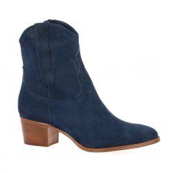 Pao Boots cuir velours bleu