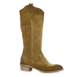 Metisse Boots cuir velours taupe