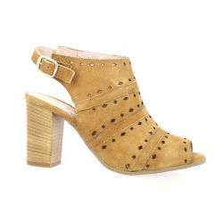 Pao Nu pieds cuir velours camel