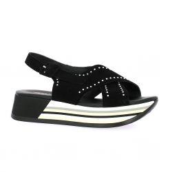 Repo Nu pieds cuir velours noir