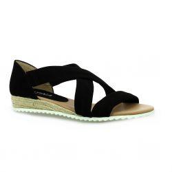 Latina Nu pieds cuir velours noir
