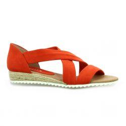 Latina Nu pieds cuir velours corail