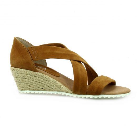 Latina Nu pieds cuir velours cognac