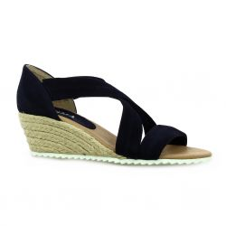 Latina Nu pieds cuir velours marine