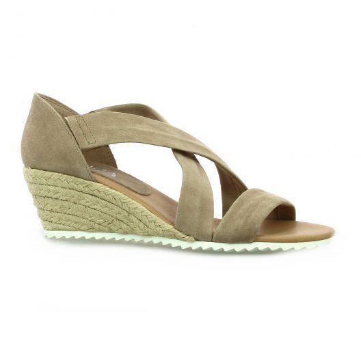 Latina Nu pieds cuir velours taupe