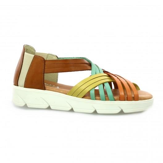 Latina Nu pieds cuir jaune