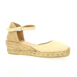 Pao Espadrille cuir velours sable