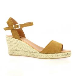 Pao Espadrille cuir velours whisky