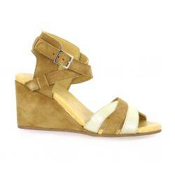 So send Nu pieds cuir velours camel/or