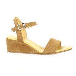 So send Nu pieds cuir velours camel