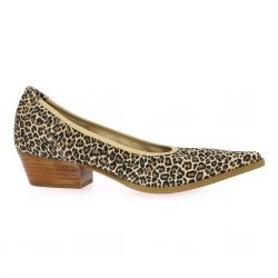 Otess Escarpins cuir velours leopard