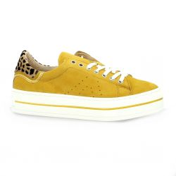 Latina Baskets cuir velours jaune