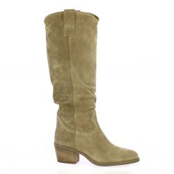 Gaia Bottes cuir velours taupe
