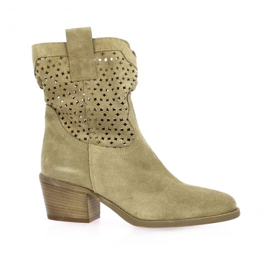 Gaia Boots cuir velours taupe