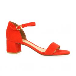 We do Nu pieds cuir velours corail