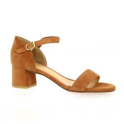 We do Nu pieds cuir velours cognac