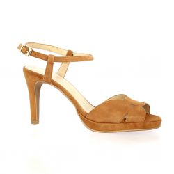 Brenda zaro Nu pieds cuir velours camel