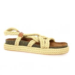 Cassis Nu pieds toile/cuir beige