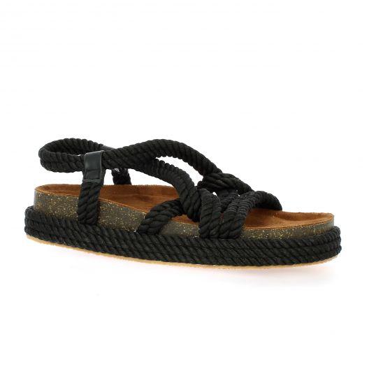 Cassis Nu pieds toile/cuir noir