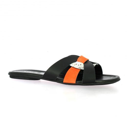Reqins Nu pieds cuir velours noir/orange