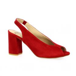 Cor by andy Nu pieds cuir velours rouge
