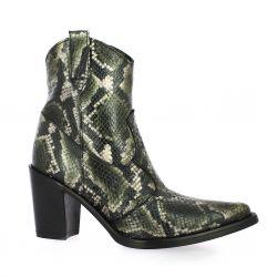 Emanuele Crasto Boots cuir python kaki