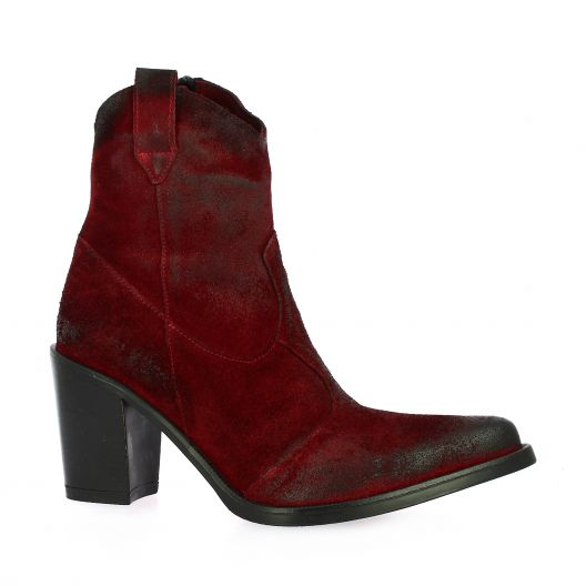 Emanuele Crasto Boots cuir velours rouge