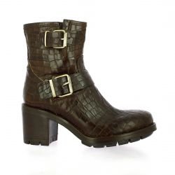 Paoyama Boots cuir croco marron