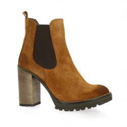 Paoyama Boots cuir velours cognac