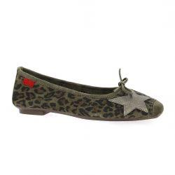 Reqins Ballerines velours leopard vison
