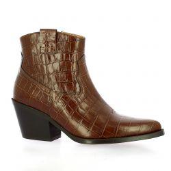 Exit Boots cuir croco cognac