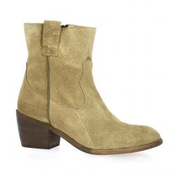 Ngy Boots cuir velours taupe