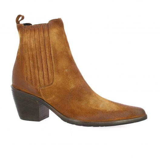 Crasto Boots cuir velours cognac