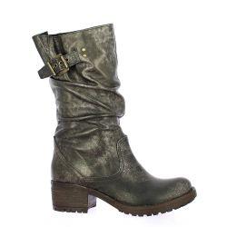 Pao Boots cuir laminé bronze