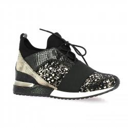 La strada Baskets cuir leopard noir/or