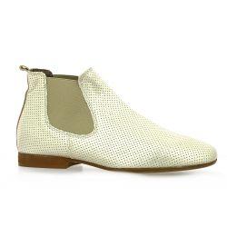Reqins Boots cuir laminé platine