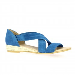 Exit Nu pieds cuir velours bleu