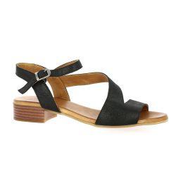 K.mary Nu pieds cuir laminé noir