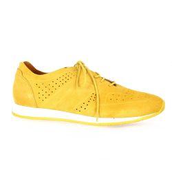 Pao Baskets cuir velours jaune