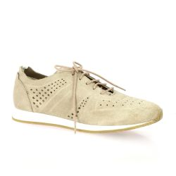 Pao Baskets cuir velours taupe