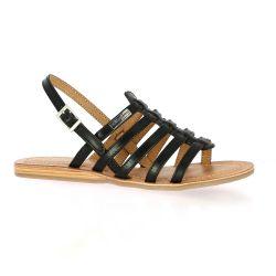 Les tropeziennes Nu pieds cuir noir