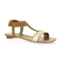 Sms Nu pieds cuir velours camel