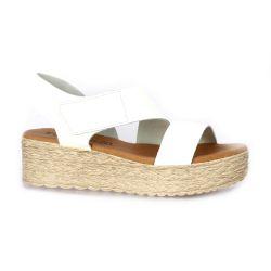 Eva frutos Nu pieds cuir blanc