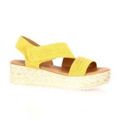 Eva frutos Nu pieds cuir velours jaune