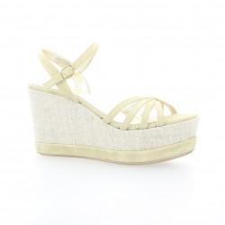 Pao Nu pieds cuir velours beige