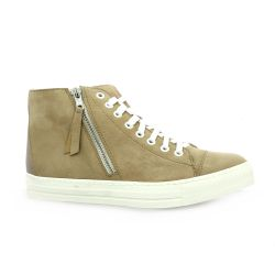 Latina Baskets cuir velours taupe